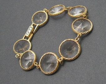 Wide Rhinestone Bracelet Rivoli Stone Jewelry