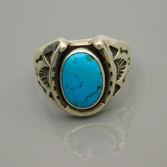 Sterling Horseshoe Ring, Sterling Turquoise Ring,