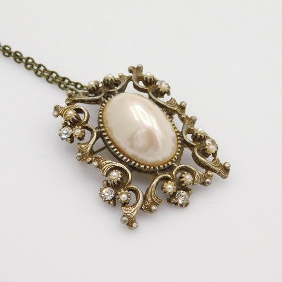 Vintage Pendant Brooch, Pearl Rhinestone Pendant,… - image 8