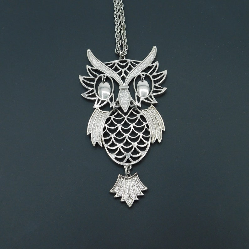Big Vintage Owl Pendant Necklace Articulated Owl Pendant Dangly Eyes Owl Large Silver Owl Pendant Bird Jewelry Vintage Jewelry