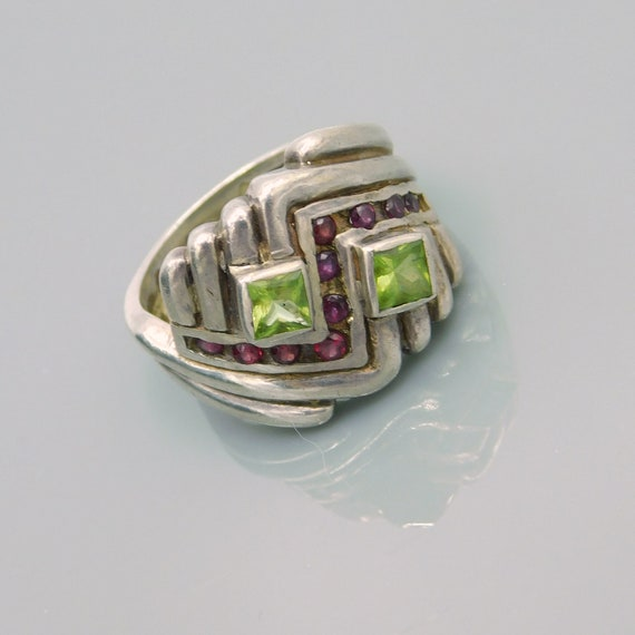 Vintage Sterling Chevron Ring, Sterling Peridot a… - image 6