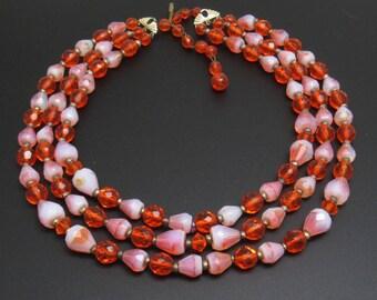 Vintage Multi Strand Necklace, Orange Bead Bib Choker,  Unique Bead Necklace, Mid-Century Beads, Vintage Jewelry