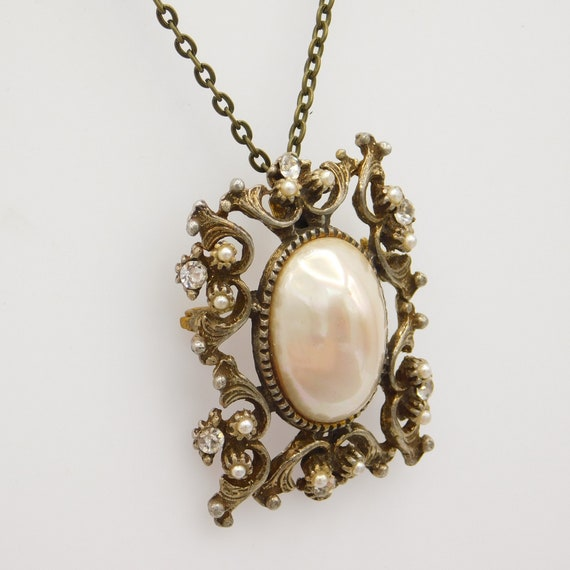 Vintage Pendant Brooch, Pearl Rhinestone Pendant,… - image 3