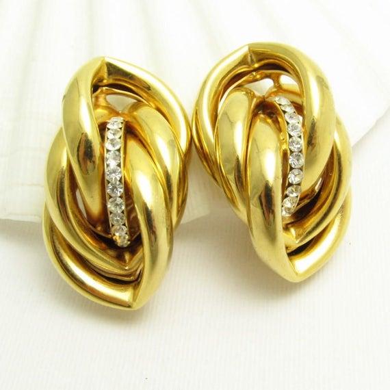 Bold Earrings, Big Eighties Jewelry, Hollow Tube J