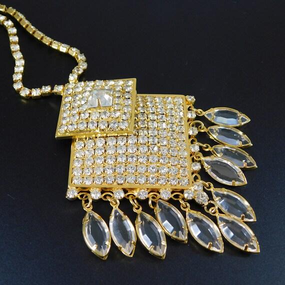 Fringed Rhinestone Necklace, Fringed Pendant, Rhi… - image 4
