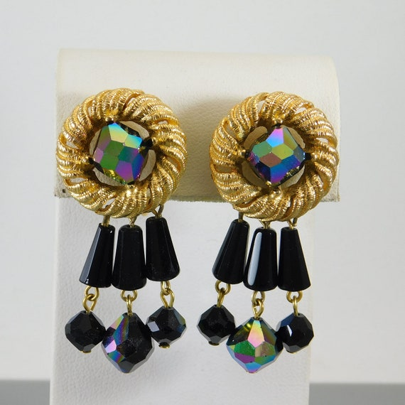 Trifari Egyptian Earrings, Egyptian Bead Earrings… - image 1