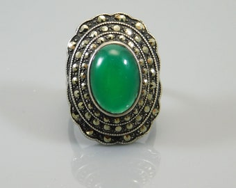 Big Sterling Art Deco Ring, Chrysophrase Deco Ring, Stering Marcasite Ring, Sterling Deco Jewelry, Antique Sterling Ring, Antique Jewelry