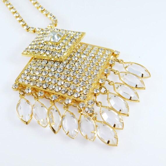 Fringed Rhinestone Necklace, Fringed Pendant, Rhi… - image 3