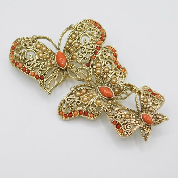 Large Butterfly Trio Brooch, Vintage Monet Brooch… - image 8
