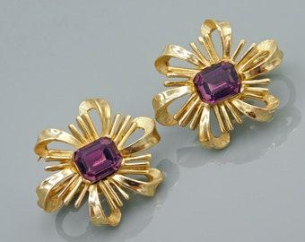 Trifari Bow Earrings, Purple Trifari Earrings, Vintage Trifari Jewelry, Clip on Earrings, Vintage Jewelry