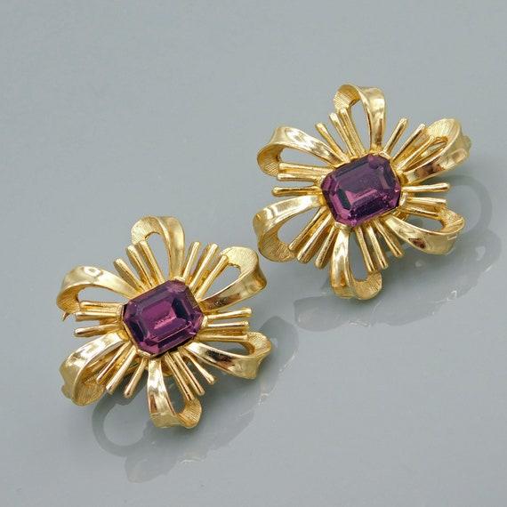 Trifari Bow Earrings, Purple Trifari Earrings, Vin