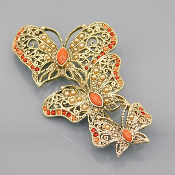 Large Butterfly Trio Brooch, Vintage Monet Brooch… - image 2