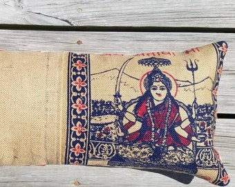 Ja Santoshi Maa Upcycled Burlap Pillow