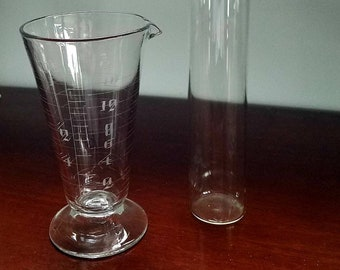 Set of three pieces vintage glass laboratory equipment. RAC, pyrex