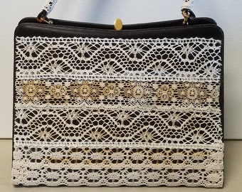 Upcycled lace handbag, midcentury bag by Dorian made new