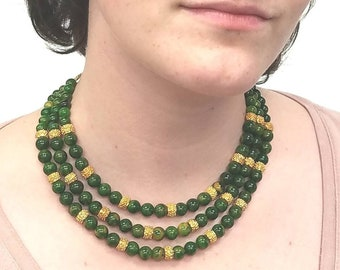 Jade and Gold toned Triple Strand
