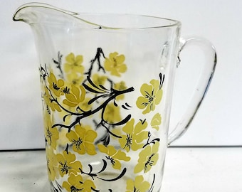 Lovely Yellow Floral Beverage Pitcher