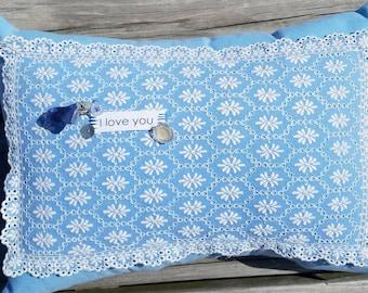 Sweet Blue I love you Eyelet Pillow