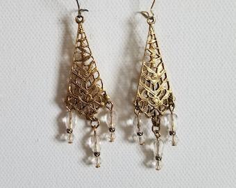 pretty filigree fringed dangle earrings