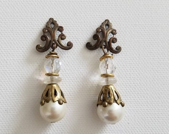 Baroque filigree accented crystal & pearl drop post earrings