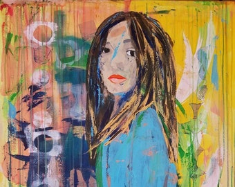 Constance - a mixed media painting by Theresa Wells Stifel