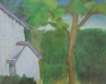 Cherry Hill Farm pastel painting by Theresa Wells Stifel - farmhouse decor, trees, art for you