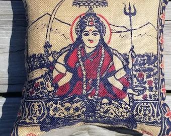 Jai Santoshi Maa burlap pillow