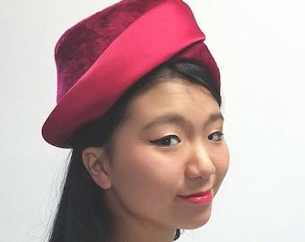 Mr Arnold Red Satin Trimmed hat