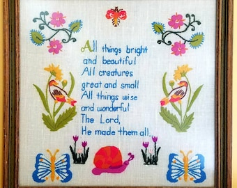 All things bright and beautiful vintage wool crewel embroidery framed artwork.