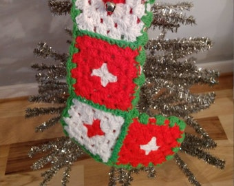 Sweet Hand Crocheted Granny Square Stocking, Christmas, Holiday