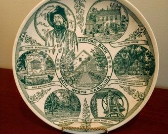 Beautiful Commemorative Historic Bath North Carolina Plate (19D)