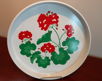 Beautiful Tin Serving Plate with Geraniums by Avon (19E)