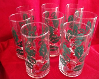 Vintage Holley Drinking Glasses, Set of 8, Christmas, Holiday