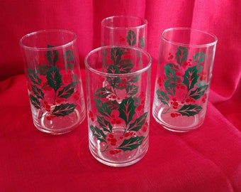 Sweet Holley Glasses - Set of 4, Christmas, Holiday