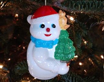 Fabulous Vintage Musical  Snowman Ornament, Christmas, Holiday (JM)