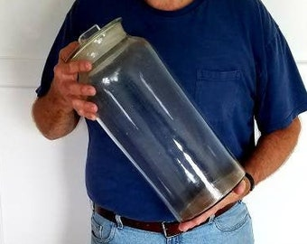 Giant hand blown 17 inch antique apothecary specimen jar with lid