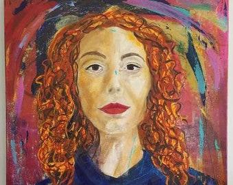 Lexi mixed media portrait by Theresa Wells Stifel
