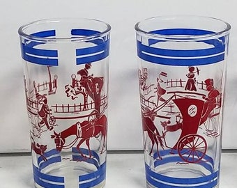 Hazel Atlas Glasses Set of 4 Horse and Carriage