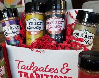 Tailgates & Traditions - BBQ Gift Caddy of ALL 6 Bob's Best Quality Spice Rubs. Perfect for your favorite chef, grill master or smoker guru!