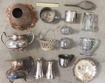 CLEARANCE COLLECTION -lot of sterling, chased and silver plate entertaining beauties. Deco, Victorian, Peouget, mid century and more.