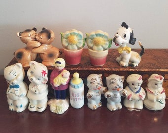 CLEARANCE COLLECTION -lot of charming vintage salt and pepper shakers. Bobble head, Van Telligen, I'm Salt, I'm Pep, and more.