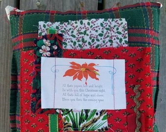 Festive Christmas Patchwork Upcycled Pillow