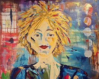 Determination - Mixed Media Figural Painting by Theresa Wells Stifel blonde fierce woman painting
