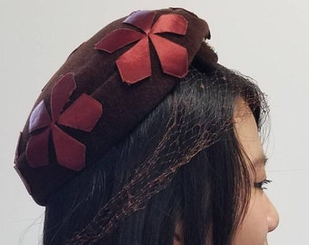 Ranleigh Merlot trimmed Cocoa Cocktail Hat