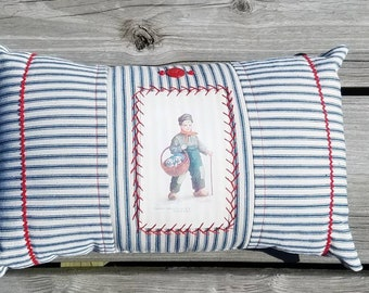 Buy a Pup hand embroidered vintage ticking pillow