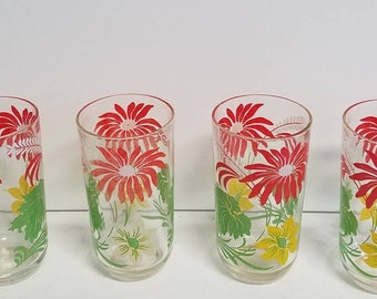 Red Floral Drinking Glasses Set of 4