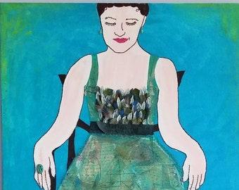Lady In Waiting - mixed media Figural Art by Theresa Wells Stifel 24x36