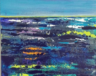 Dark Seas Clear Skies mixed media by Theresa Wells Stifel