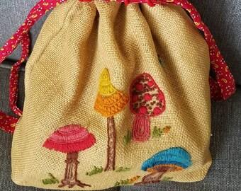 Crewel pop art mushrooms sixties burlap bag