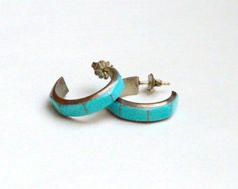 Silver and Turquoise Hoop post Earrings